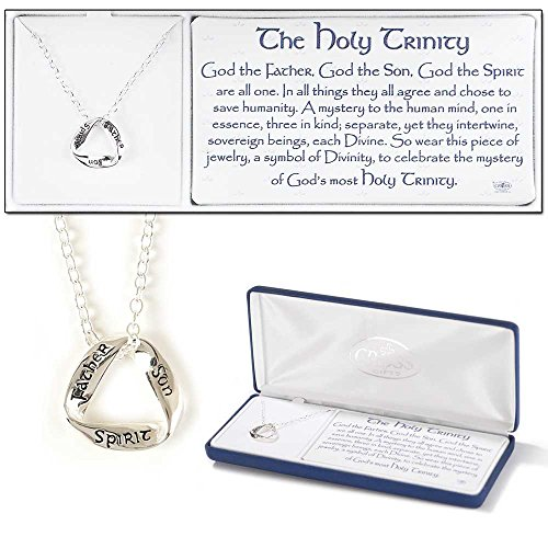 The Holy Trinity Father, Son and Holy Spirit Silver Plated Pendant Necklace - 18 inch Chain