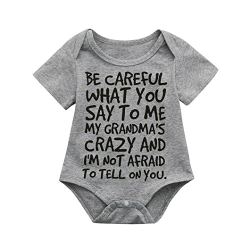 Ankola Newborn Jumpsuit,'' BE CAREFUL WHAT''Infant Baby Boys Girls Romper Bodysuit Jumpsuit Outfits Sunsuit Clothes for Father's Day (6M, ()
