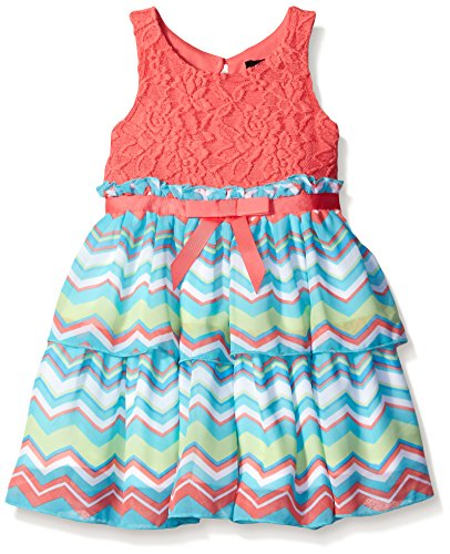(Lilt Little Girls' Toddler Sleeveless Lace Chevron Tiered Dress, Coral Multi,)