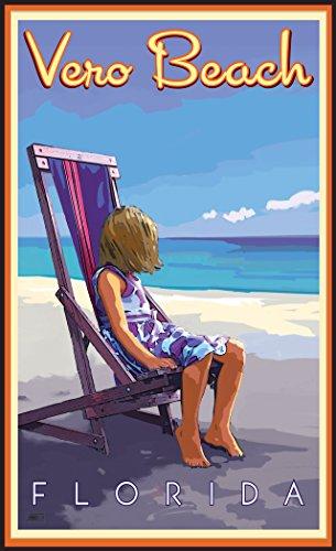 Northwest Art Mall JK-5754 GBC Vero Beach Florida Girl Beach Chair Print by Artist Joanne Kollman, 11