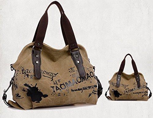 Panegy Damen Frauen Casual Tasche Mode Canvas Graffiti Druck Schultertasche Fashion Handtasche Für Freizeit Outdoor und Sport - Dunkelkhaki Hellkhaki