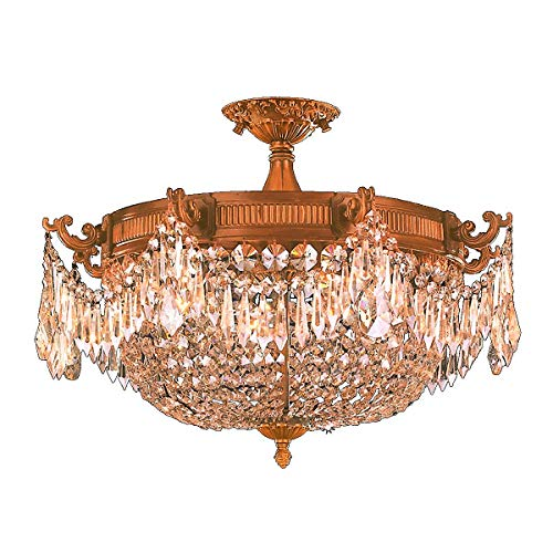 "Worldwide Lighting Winchester Collection 4 Light French Gold Finish and Golden Teak Crystal Semi Flush Mount Ceiling Light 24"" D x 16"" H Extra Large"