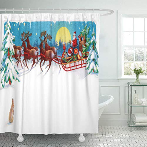 Ladble Waterproof Shower Curtain Curtains Red Vintage Rabbit Watches Santa Reindeer and Sleigh on Christmas Eve Circa 1915 Area for Claus 72
