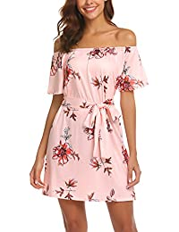 Womens Off Shoulder Ruffles Floral Mini Dress Casual Pleated Party Short Dress