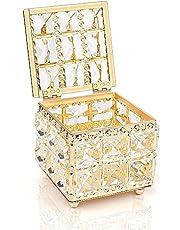 صندوق مكياج من الكريستال، لتخزين المكياج، منظم الاقراص القطنية للمكياج، حاوية مع غطاء، للنكاشة القطنية، اسفنج المكياج، واقراص المكياج بلون ذهبي