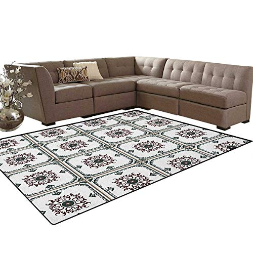 (Turkish Pattern,Rug,Vintage Composition with Green Frame and Round Spiral Flower,Perfect for Any Room Floor Carpet,Jade Green Burgundy White Size:6'x9')
