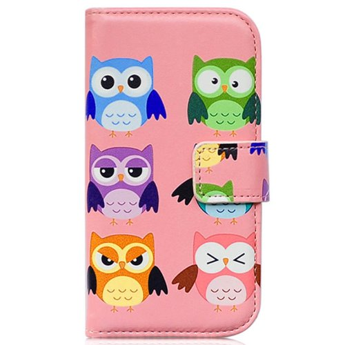 Bcov Brand Cute Cartoon Owl Bird Pink Wallet Leather Cover Case for Samsung Galaxy S3 i9300 (Cartoon Galaxy S3 Phone Flip Case)