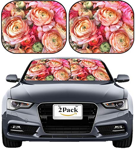 (MSD Car Sun Shade Windshield Sunshade Universal Fit 2 Pack, Block Sun Glare, UV and Heat, Protect Car Interior, Image ID: 23898219 Bouquet of Pink Peony Floral Pattern)