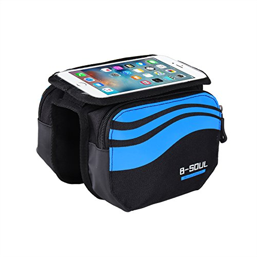 Bike Frame Bag LECCER Double Pouch Front Tube Bag with 3 in 1 Design Super Light Cycling Bike Front Bag Pannier Double Pouch for up to 5.7 inch Cellphone Phone