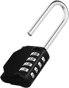 Long Shackle Padlock, 4 Digit Combination Lock, Resettable Weatherproof Combo Lock for School, Gym & Employee Locker, Outdoor, Fence, Hasp and Storage
