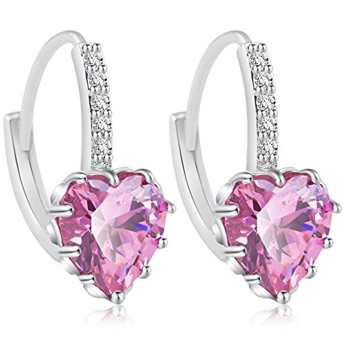 - Fashion Dangle Heart Earrings Sterling Silver Stud Earrings for Women Girls with Swarovski Crystal (Pink)