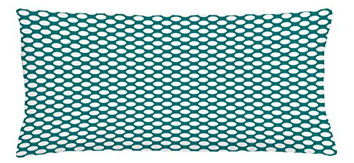 Ambesonne Teal Throw Pillow Cushion Cover, Polka Dotted Pattern Traditional Style European Inspired and Vibrant Colored Image, Decorative Accent Pillow Case, 36 X 16 Inches, Teal White