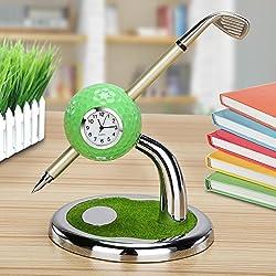 Golf gift,World 9.99 Mall Mini desktop golf Clock Ball pen Stand with golf pens 2pcs set of golf souvenir Tour souvenir novelty gift (Green)