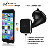 Wefunix Magnetic QI Wireless Car Charger for iPhone 7/6s/6, [4 in 1] Wireless Charging Car Mount Set- Magnetic Wireless Charger Pad& Charging Receiver Case& Windshield/Air Vent Dock& Screen Protector