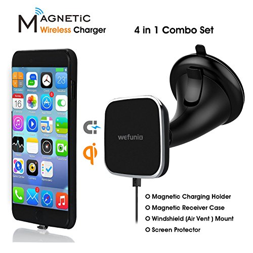 Magnetic Wireless Car Charger for iPhone 7/6s/6, 【4 in 1】Wireless Charging Car Mount Set- Magnetic Wireless Charger Pad& Charging Receiver Case& Windshield/Air Vent Dock& Screen Protector-Wefunix