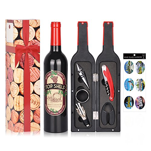 Wine Accessories Gift Set - 5 Pcs Deluxe Wine Corkscrew Opener Sets Bottle Shape in Elegant Gift Box, Great Wine Gifts Idea for Wine Lovers, Friends, Anniversary, Valentine's Day