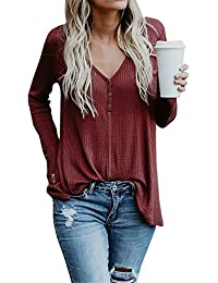 Women's Sexy V Neck Ribbed Knit Sweater Tops Long Sleeve Loose Henley Shirt Blouse Casual Pullovers