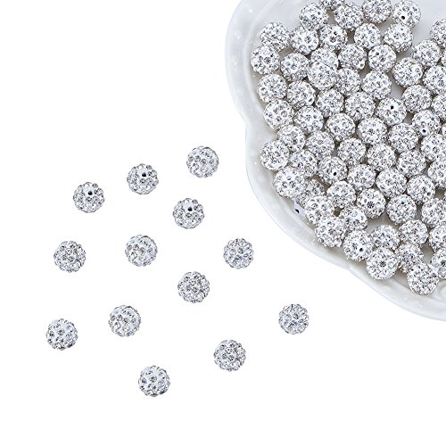 PandaHall 100 Pcs 8mm Disco Ball Clay Beads Pave Rhinestones Spacer Round Beads fit Shamballa Bracelet and Necklace Crystal