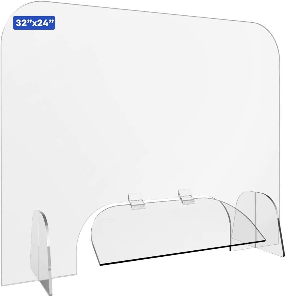 """Sneeze Guard, 32"""" x 24"""" Protective Self-Standing Plexiglass Shield Scratch Resistant Barrier with Transaction 18"""" x 6"""" Window Flap for Receptionist, Checkout Counter, and Offices"""