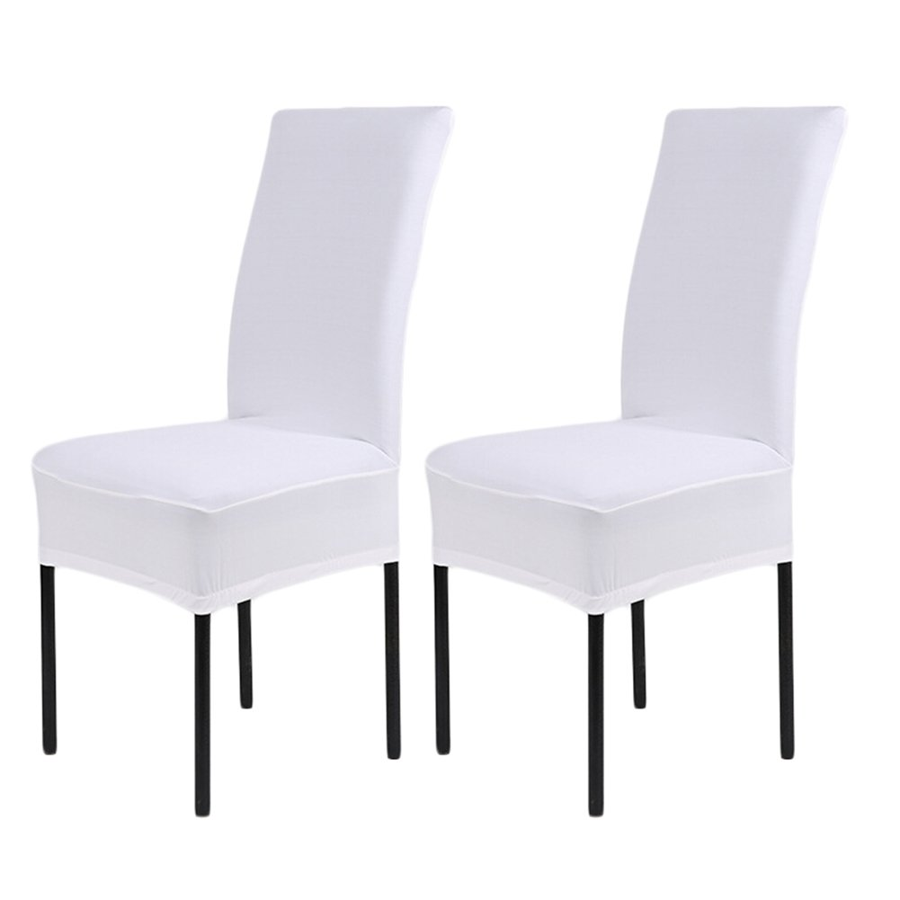 2 x Removable Short Stretch Spandex Dining Chair Slipcovers Protector, Super Fit Banquet Chair Seat Cover for Hotel and Wedding Ceremony, Washable (Pack of 2, White) SindeRay