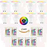 (8-Pack, Cool White) DDSKY GU10 8W RGBW LED Light Bulbs 16 Colors 4 Modes Flood Lighting Bulbs with IR Remote Control Decorative Lights for Home Party Indoor Outdoor Decor