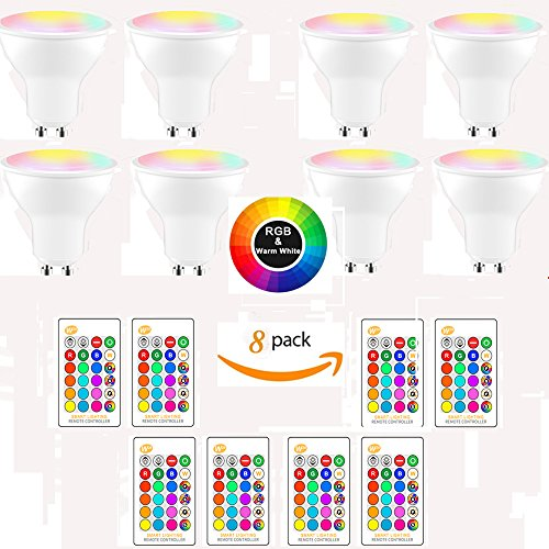 (8-Pack, Cool White) DDSKY GU10 8W RGBW LED Light Bulbs 16 Colors 4 Modes Flood Lighting Bulbs with IR Remote Control Decorative Lights for Home Party Indoor Outdoor Decor by DDSKY