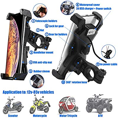 PROCYMD 2 in 1 Waterproof Motorcycle Cell Phone Mount Holder with USB Charger//Power Switch Black 3.3FT Power Cable//Safety Bands//Handlebars Mount from 0.6 to 1.4 in Diameter