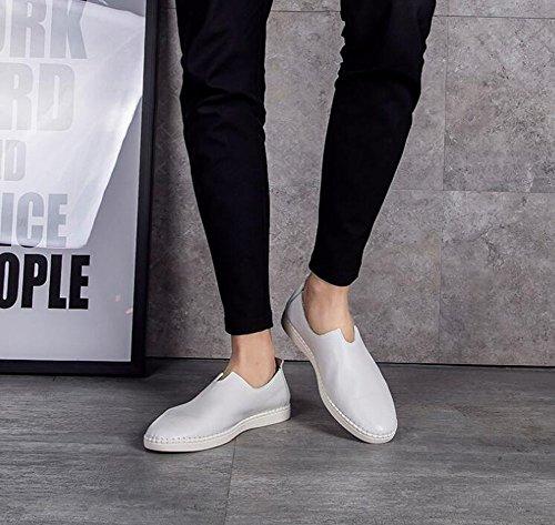 Shixran Été Et Souple Respirants 100 Oxford Doux Chaussures on Confortables Quotidiens Cuir Décontractés Slip Blanc En Men Chaussons CIqwC6rA
