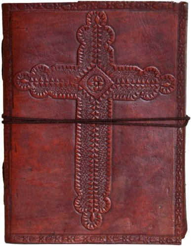 INDIARY Embossed Genuine Leather Journal With Handmade Paper 6x4