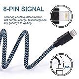 Akaho Lightning Cable 3Pcs 6FT Nylon Braided Lightning Cable Cord USB Charging Cable Charger for Apple iPhone 7/7 Plus/6/6s/6 Plus/6s Plus/5/5c/5s/SE,iPad iPod Nano iPod Touch(Black&Blue)