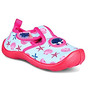 [A204-PNK-T10] Aquakiks Water Aqua Shoes for Girls, Kids Waterproof Sandals, Pink Seashell