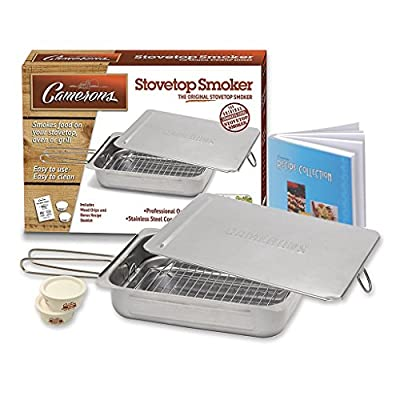 Stovetop Smoker - The Original Camerons Stainless Steel Smoker with Wood Chips and 160 Page Cookbook - For Grill or Oven by CM International