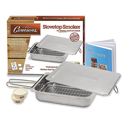Stovetop Smoker - The Original Camerons Stainless Steel Smoker with Wood Chips and 160 Page Cookbook - For Grill or Oven (Stove Smoker compare prices)