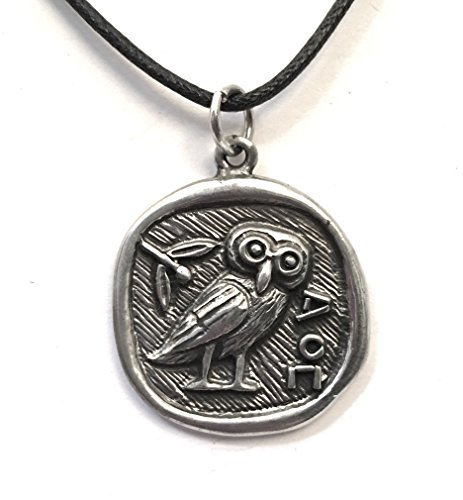 Athena Minerva Owl Coin Shaped Greek Pendant Charm Necklace APD-131 by Nirvana