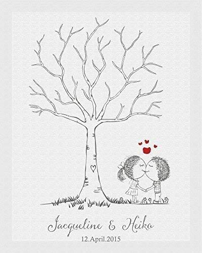 Livingstyle & Wanddesign Fingerabdruck Leinwand zur Hochzeit, Motiv Liebespärchen (mit Staffelei)
