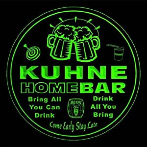 4x ccq24675-g KUHNE Family Name Home Bar Pub Beer Club Gift 3D Engraved Coasters