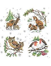 20 servetten dierenfamilie in de winter | vos | uil | hert | vogels 33x33cm