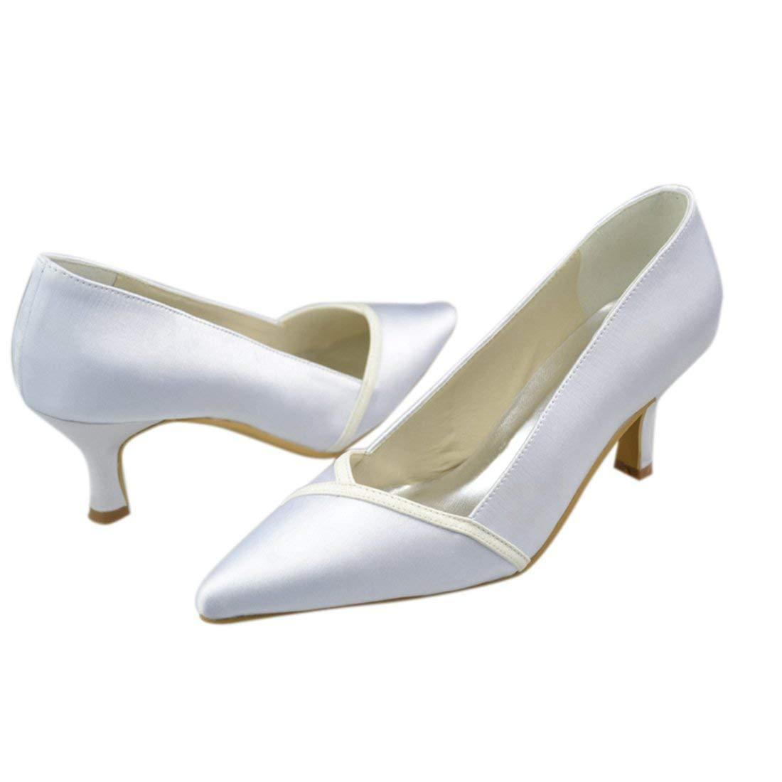 Qiusa Y1029 Damen Kätzchen Absatz Satin Abend Abend Abend Party Braut Hochzeit Pumps (Farbe   Weiß-6.5cm Heel Größe   8 UK) a5bd4c