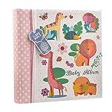 Baby Girls Pink Slip In Case Memo Photo Album 4 x 6'' For 200 Photos - Woodland Animals - Ideal Gift