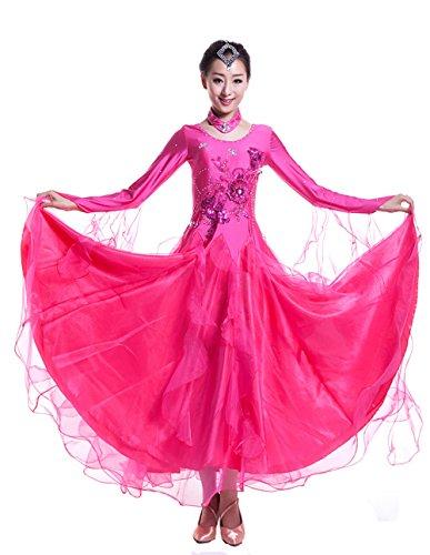 Latino Abiti Lunghe Abbigliamento Body Concorrenza Dancewearskirt Moderna Xiangpai Rosa Costumi Valzer Danza Le Donne Promballroom Altalena Maniche Partito Da Ballo Rossa Tango Per In A Liscia pxwrqU8p