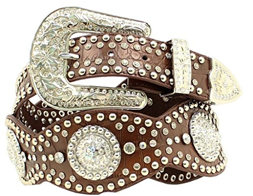 - Nocona Women's Wide Croc Print Round Conchos Belt, Brown, L