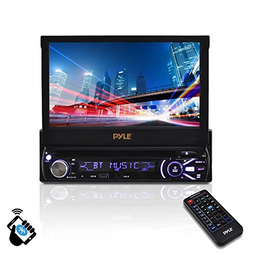 Premium 7In Single-DIN Car Stereo Receiver With Bluetooth - In-Dash Motorized Touchscreen TFT/LCD Display with AM- FM Radio and Multimedia CD / DVD / MP3 / SD / USB & More