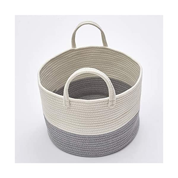 Usning Cotton Rope Basket 15.7″ x 15.7″ x 10″ Woven Baby Laundry Basket for Blankets Toys Storage Basket with Handle Comforter Cushions Storage Bins Grey