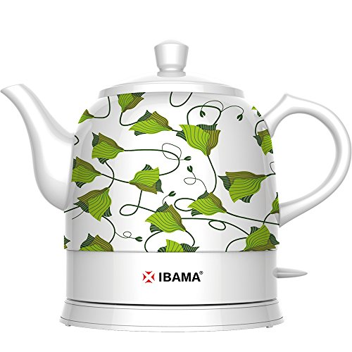IBAMA Teapot Ceramic Electric Kettle, Cordless Water Tea, 1.2L (Green Pattern) (Ceramic Teapot Small compare prices)