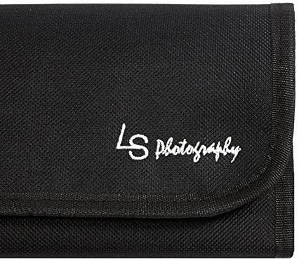 LS Photography x 4 Pocket Camera Lens Filter Case Carry Pouch for Round Circular or Square Filters and Black SuperFiber Lens Cleaning Cloth 6pcs LGG46