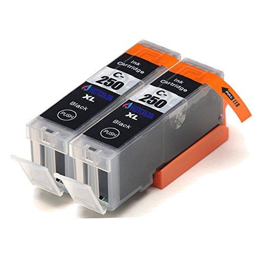 HOTCOLOR (TM) 2 Large Black PGI-250PGBK PGI-250 New ink cartridges use for Cannon PIXMA MG5420 MG5450 MX922 iP7220 iP7250 Printers