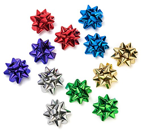The Cottage Collection Decorative Metallic Gift Wrap Bows - 6 Colors for All Occasions 3.5in, 12 Bows (2 each of 6 colors) by The Cottage Collection