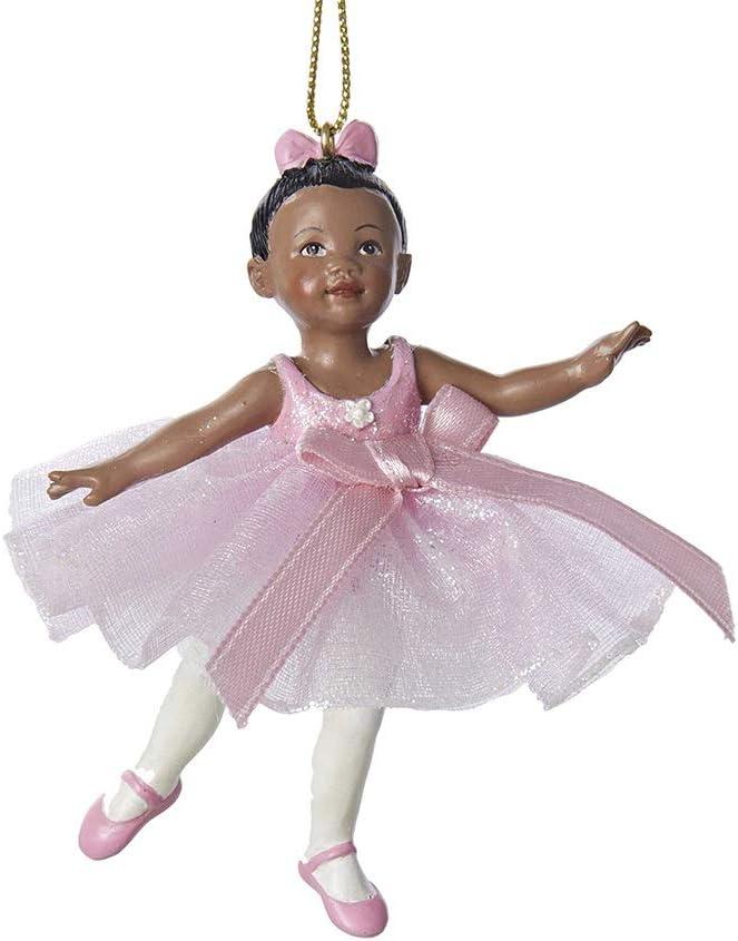 """Kurt Adler 3.25"""" Resin African American Little Ballerina Ornament"""