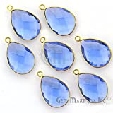 Tanzanite 12x16MM Pears Shape Gold Plated Bezel Connector Single BAIL