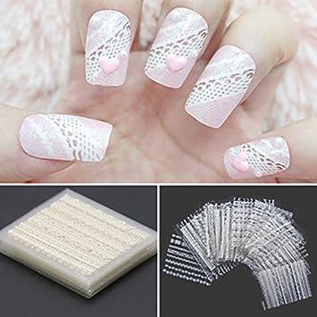 iDealhere 30sheets Mezcla Encaje 3D Flor Uñas Etiqueta de Arte Etiqueta Decoración (Blanco): Amazon.es: Hogar